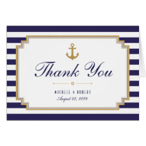 Stylish Nautical Striped Thank You Note Card