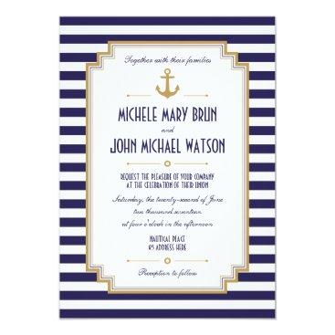 pinkpinetree Stylish Nautical Wedding Invitation