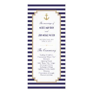 Stylish Nautical Wedding Program Rack Cards
