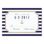 "Stylish Nautical Wedding RSVP Card 3.5"" X 5"" Invitation Card"