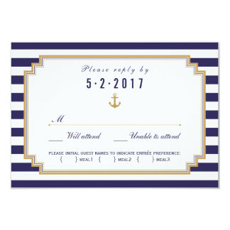 Stylish Nautical Wedding RSVP Card Meal Choice