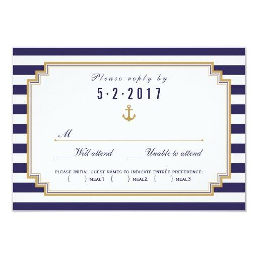 Stylish Nautical Wedding RSVP Card Meal Choice Custom Invitations