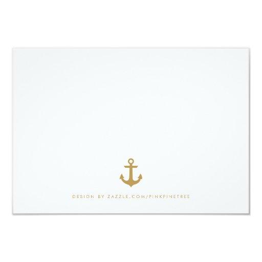 Stylish Nautical Wedding RSVP Card Meal Choice Custom Invitations (back side)