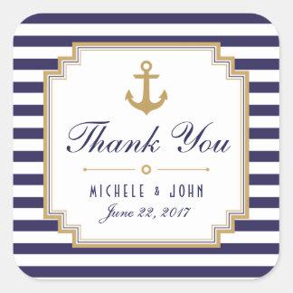 Stylish Nautical Wedding Thank You Favors Stickers