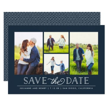 NBpaperco Stylish Navy 4 Photo Save the Date Card