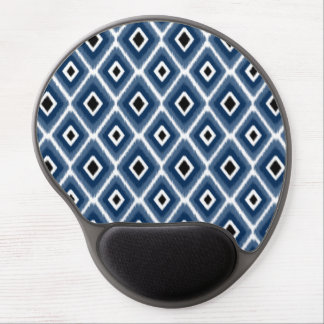 Stylish Navy Blue Black Ikat Pattern Gel Mouse Pad