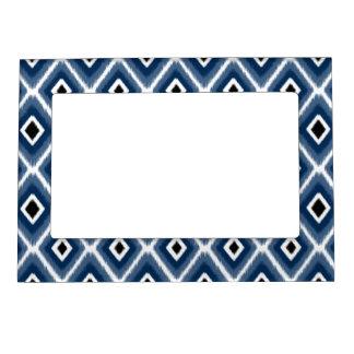 Stylish Navy Blue Black Ikat Pattern Magnetic Picture Frame