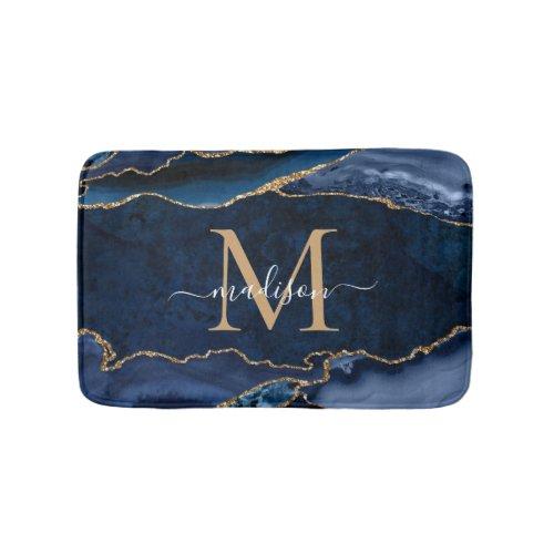 Stylish Navy Blue Gold Agate Geode Chic Monogram Bath Mat