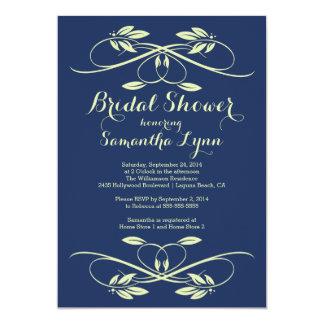 Stylish Navy Blue Leaf Flourish Bridal Shower Card
