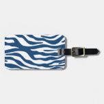 Stylish Navy Blue Zebra Print Pattern Tag For Luggage