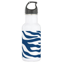 Stylish Navy Blue Zebra Print Pattern Stainless Steel Water Bottle