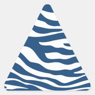 Stylish Navy Blue Zebra Print Pattern Triangle Sticker