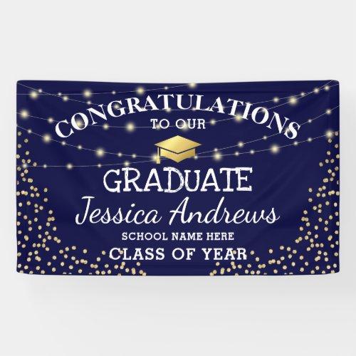 Stylish Navy  Gold Class of 2020 Graduation Banner