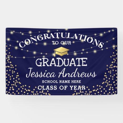 Stylish Navy & Gold Class of 2021 Graduation Banner
