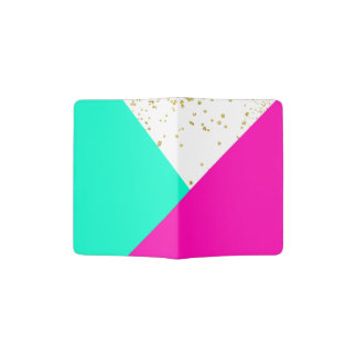 Stylish neon pink turquoise color block gold girly passport holder