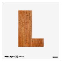 Stylish Oak Wood Decal Letter L