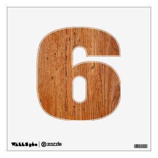 Stylish Oak Wood Wall Decal Six Small
