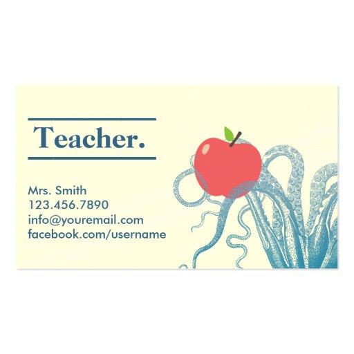Stylish Octopus & Apple Teacher Business Card