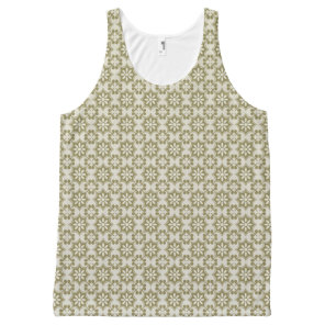Stylish olive green Fleur de Lis repeating pattern All-Over-Print Tank Top