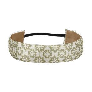 Stylish olive green Fleur de Lis repeating pattern Athletic Headband