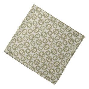 Stylish olive green Fleur de Lis repeating pattern Bandana