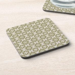Stylish olive green Fleur de Lis repeating pattern Beverage Coaster