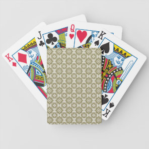 Stylish olive green Fleur de Lis repeating pattern Bicycle Playing Cards