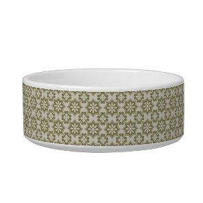 Stylish olive green Fleur de Lis repeating pattern Bowl