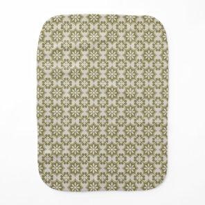 Stylish olive green Fleur de Lis repeating pattern Burp Cloth