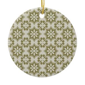 Stylish olive green Fleur de Lis repeating pattern Ceramic Ornament