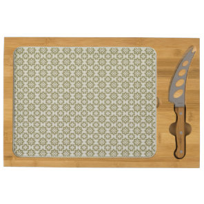 Stylish olive green Fleur de Lis repeating pattern Cheese Platter