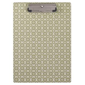 Stylish olive green Fleur de Lis repeating pattern Clipboard