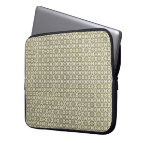 Stylish olive green Fleur de Lis repeating pattern Computer Sleeve