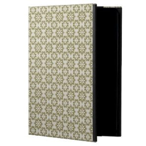Stylish olive green Fleur de Lis repeating pattern Cover For iPad Air
