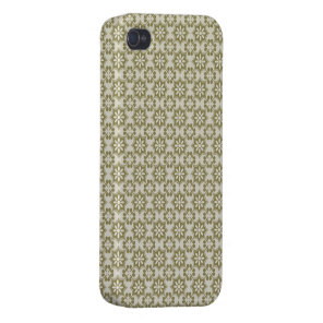 Stylish olive green Fleur de Lis repeating pattern Cover For iPhone 4