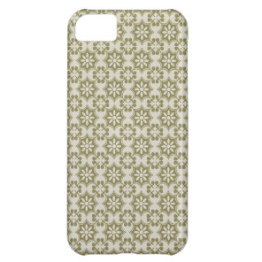 Stylish olive green Fleur de Lis repeating pattern Cover For iPhone 5C
