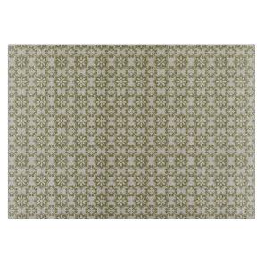 Stylish olive green Fleur de Lis repeating pattern Cutting Board