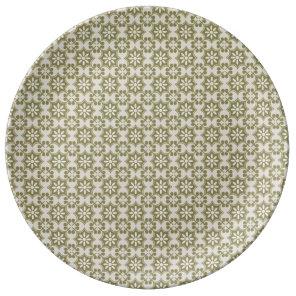 Stylish olive green Fleur de Lis repeating pattern Dinner Plate