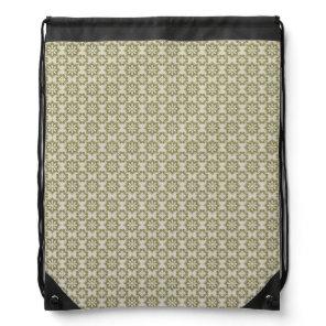 Stylish olive green Fleur de Lis repeating pattern Drawstring Backpack