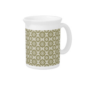 Stylish olive green Fleur de Lis repeating pattern Drink Pitcher