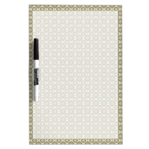 Stylish olive green Fleur de Lis repeating pattern Dry Erase Board