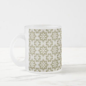 Stylish olive green Fleur de Lis repeating pattern Frosted Glass Coffee Mug