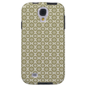 Stylish olive green Fleur de Lis repeating pattern Galaxy S4 Case