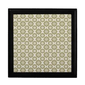 Stylish olive green Fleur de Lis repeating pattern Gift Box