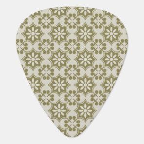 Stylish olive green Fleur de Lis repeating pattern Guitar Pick