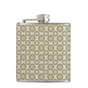 Stylish olive green Fleur de Lis repeating pattern Hip Flask