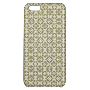 Stylish olive green Fleur de Lis repeating pattern iPhone 5C Case