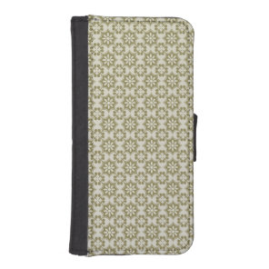 Stylish olive green Fleur de Lis repeating pattern iPhone SE/5/5s Wallet