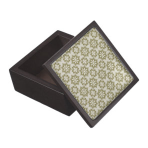 Stylish olive green Fleur de Lis repeating pattern Keepsake Box