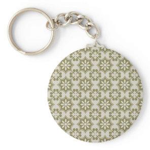 Stylish olive green Fleur de Lis repeating pattern Keychain